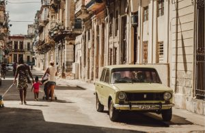 Old school car in a city abroad
